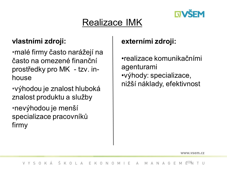 Realizace IMK vlastními zdroji: externími zdroji: