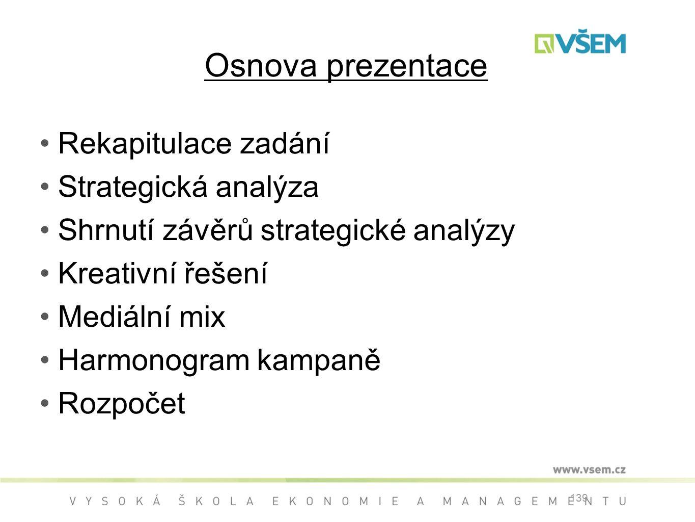 Osnova prezentace Rekapitulace zadání Strategická analýza