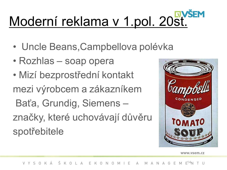 Moderní reklama v 1.pol. 20st.