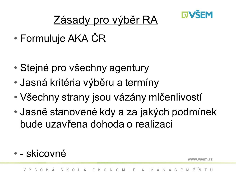 Zásady pro výběr RA Formuluje AKA ČR Stejné pro všechny agentury