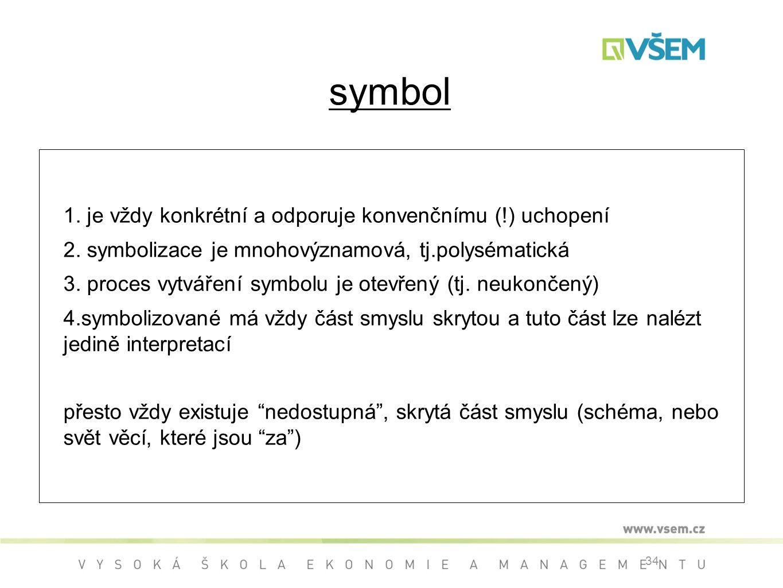 symbol 1. je vždy konkrétní a odporuje konvenčnímu (!) uchopení