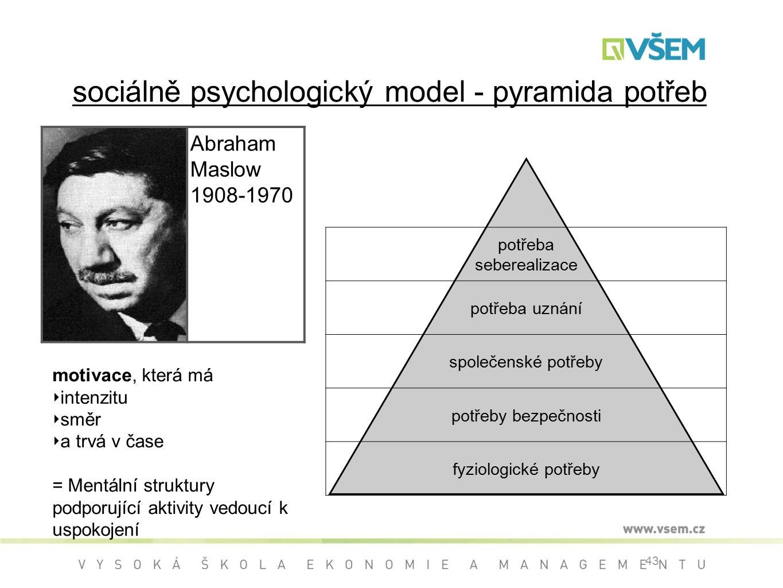 sociálně psychologický model - pyramida potřeb