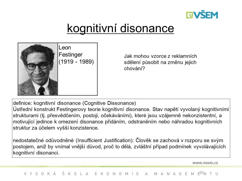 kognitivní disonance Leon Festinger (1919 - 1989)