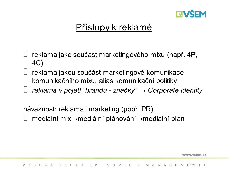 Přístupy k reklamě reklama jako součást marketingového mixu (např. 4P, 4C)