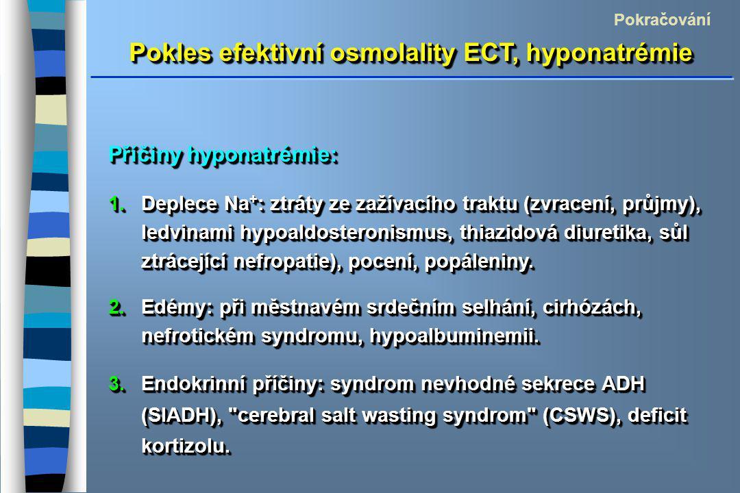 Pokles efektivní osmolality ECT, hyponatrémie