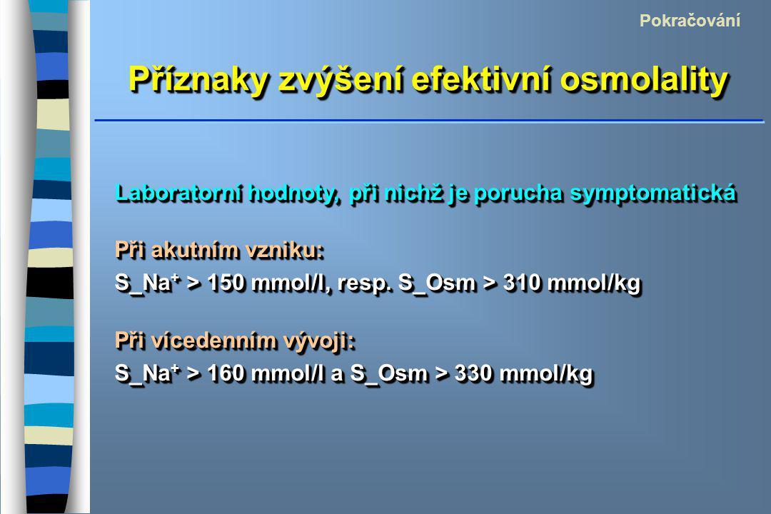 Příznaky zvýšení efektivní osmolality