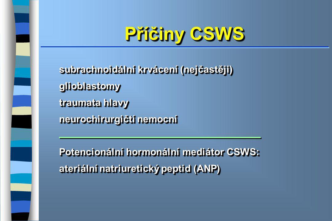 Příčiny CSWS subrachnoidální krvácení (nejčastěji) glioblastomy