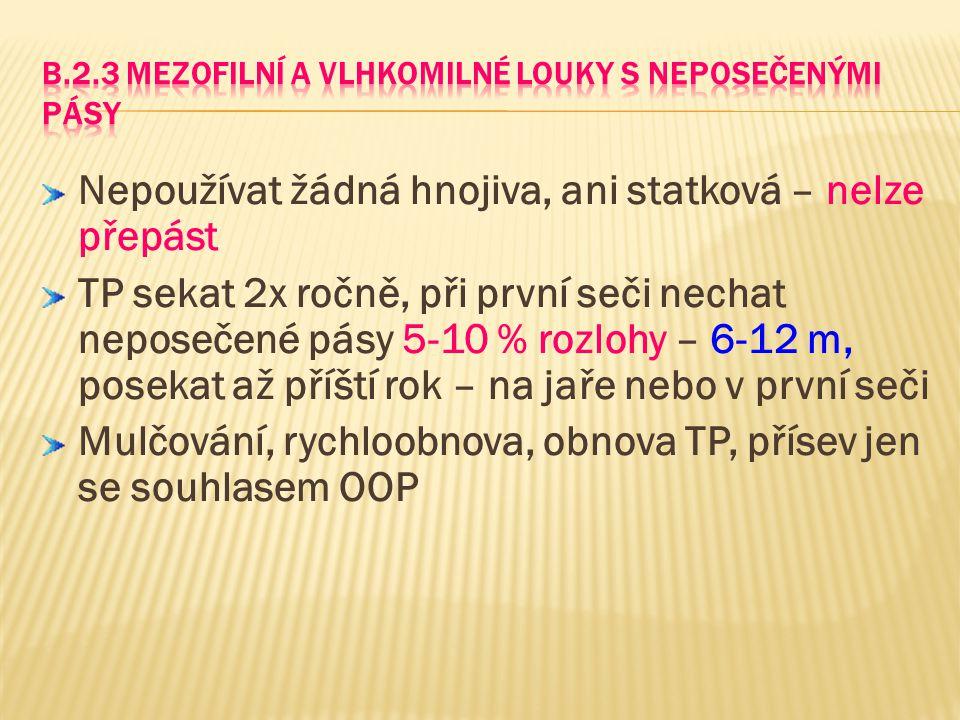 B.2.3 Mezofilní a vlhkomilné louky s neposečenými pásy