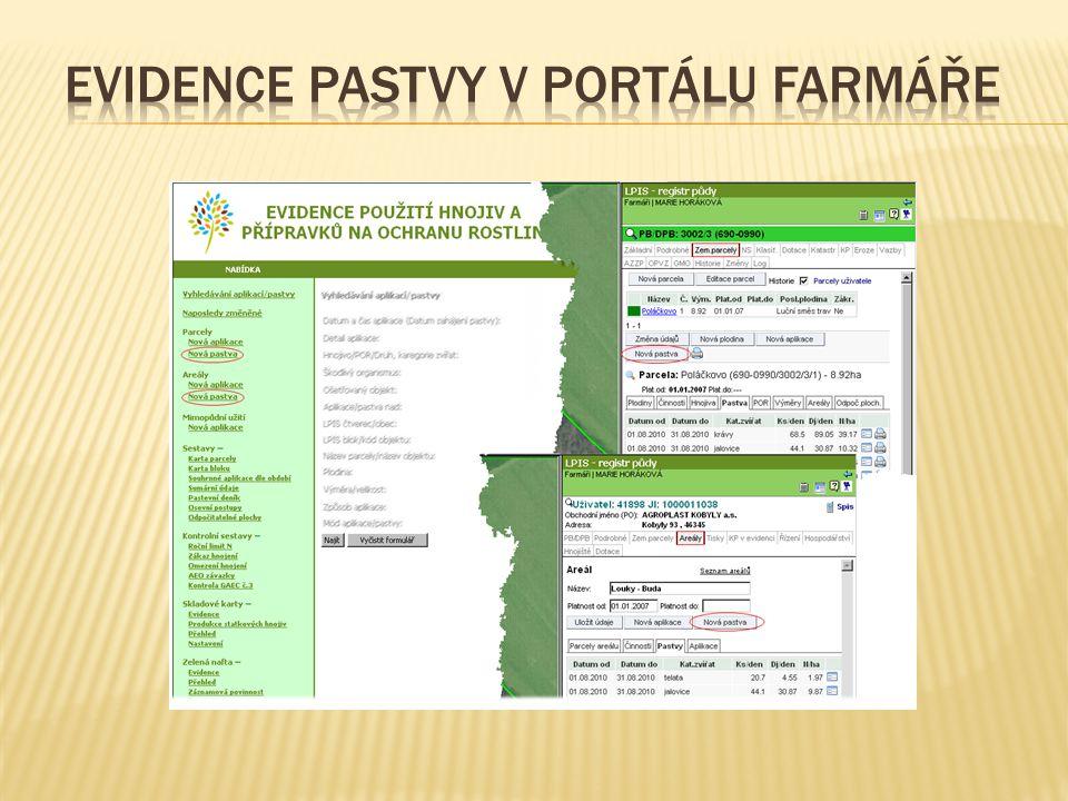 Evidence pastvy v Portálu farmáře