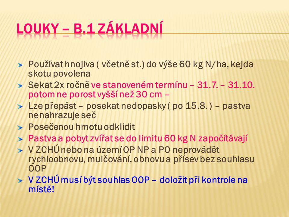 Louky – B.1 základní Používat hnojiva ( včetně st.) do výše 60 kg N/ha, kejda skotu povolena.