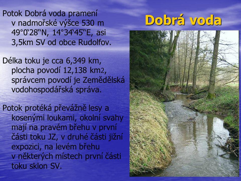 Dobrá voda Potok Dobrá voda pramení v nadmořské výšce 530 m 49°0'28''N, 14°34'45''E, asi 3,5km SV od obce Rudolfov.