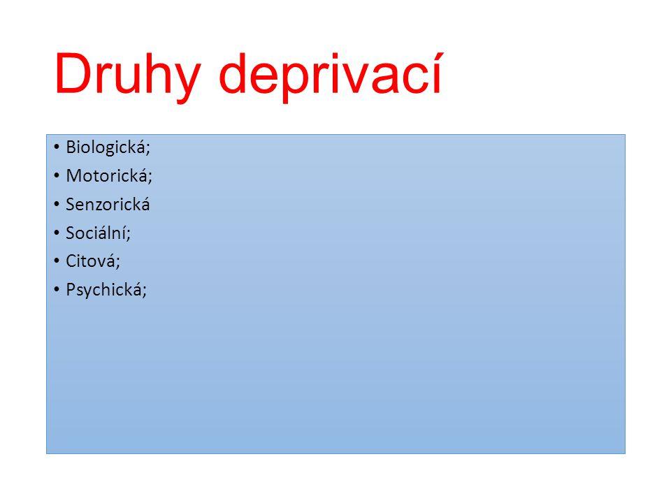 Druhy deprivací Biologická; Motorická; Senzorická Sociální; Citová;