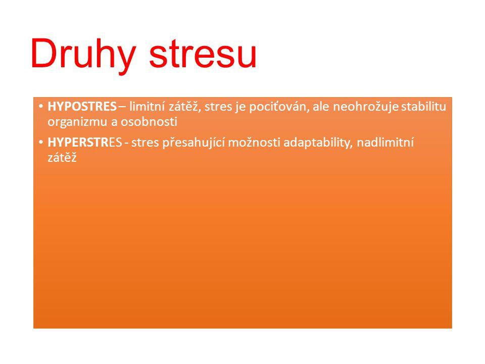 Druhy stresu HYPOSTRES – limitní zátěž, stres je pociťován, ale neohrožuje stabilitu organizmu a osobnosti.