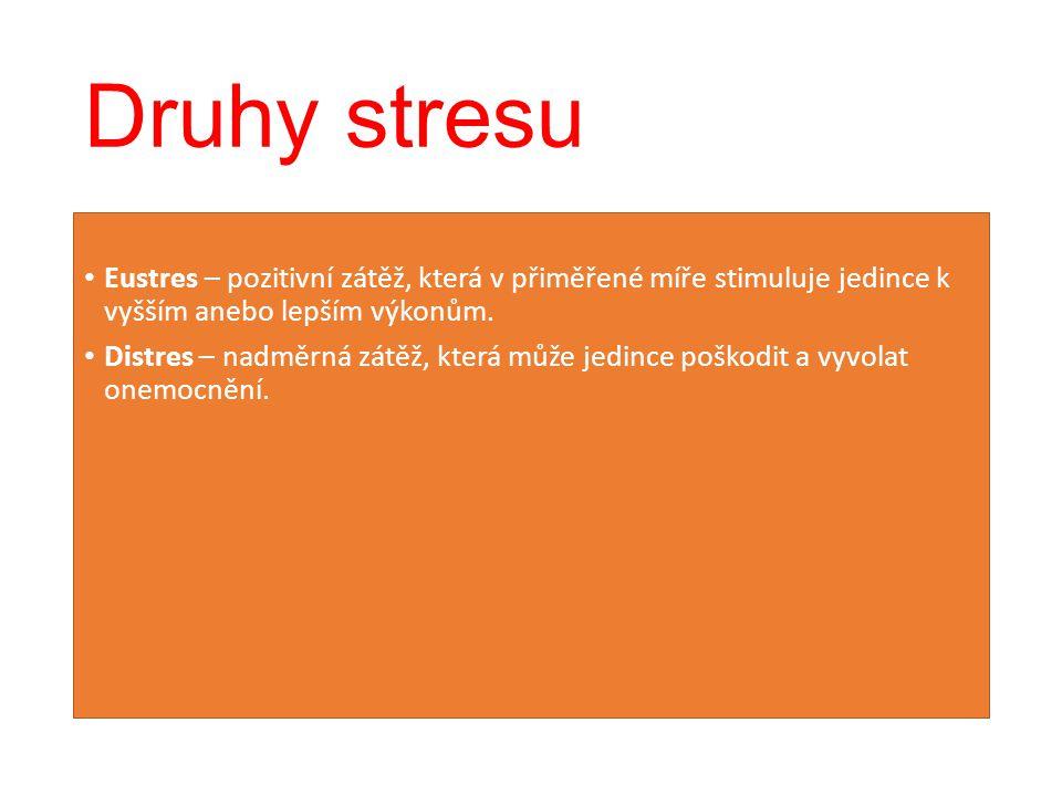Druhy stresu Eustres – pozitivní zátěž, která v přiměřené míře stimuluje jedince k vyšším anebo lepším výkonům.