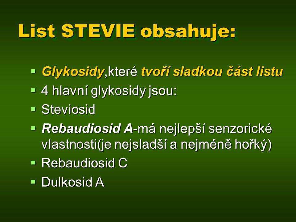 List STEVIE obsahuje: Glykosidy,které tvoří sladkou část listu