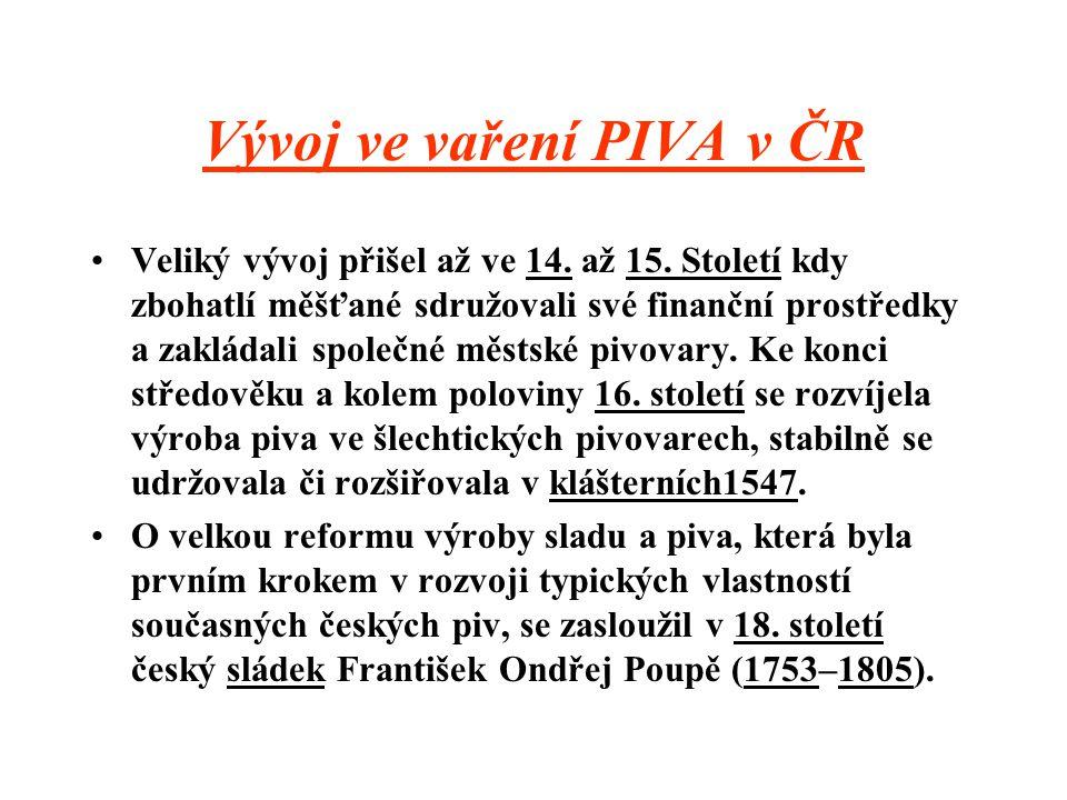 Vývoj ve vaření PIVA v ČR
