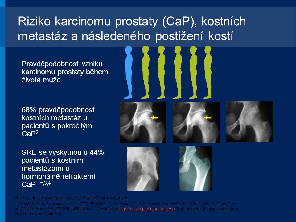 Riziko karcinomu prostaty (CaP), kostních metastáz a následeného postižení kostí