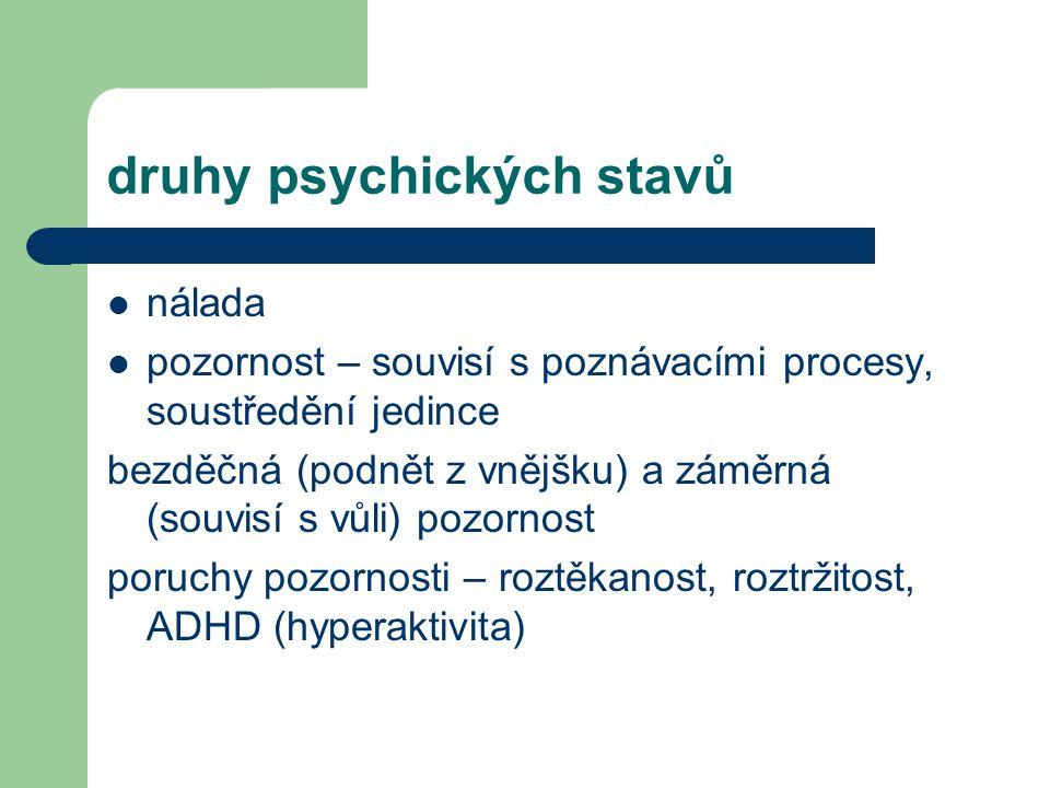 druhy psychických stavů