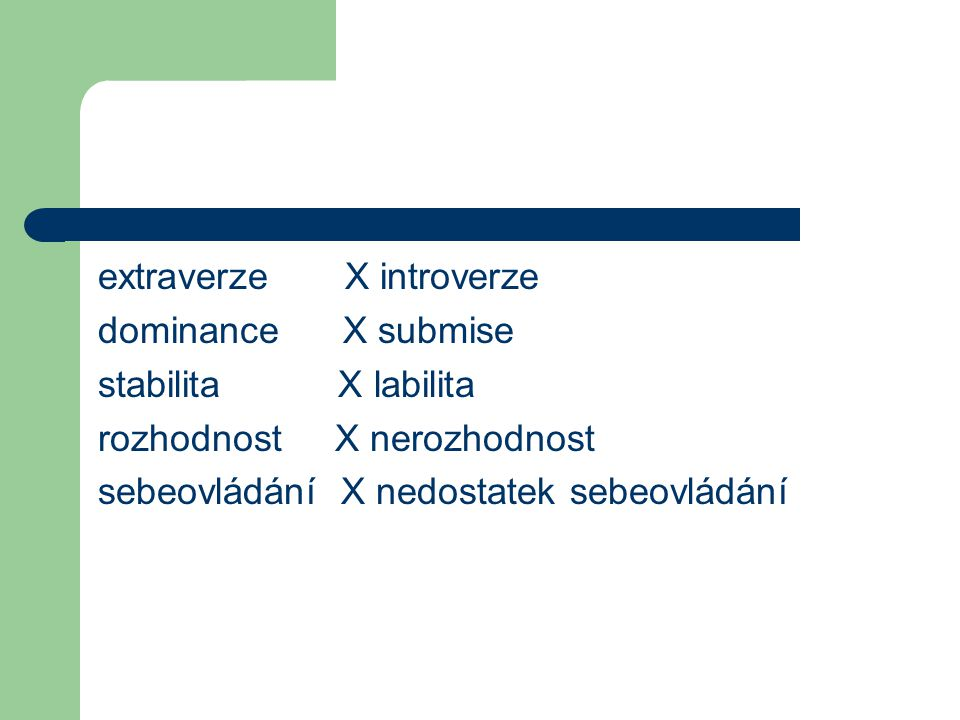 extraverze X introverze