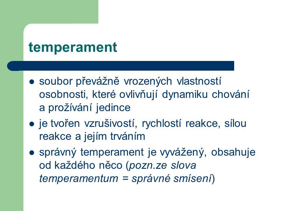 temperament soubor převážně vrozených vlastností osobnosti, které ovlivňují dynamiku chování a prožívání jedince.