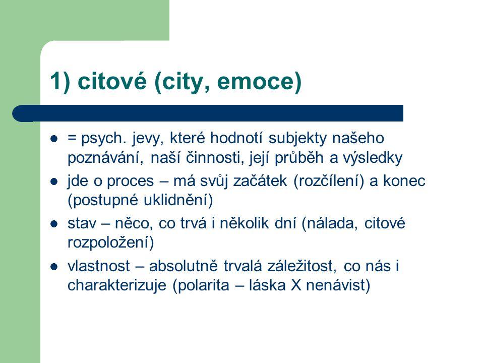 1) citové (city, emoce) = psych. jevy, které hodnotí subjekty našeho poznávání, naší činnosti, její průběh a výsledky.