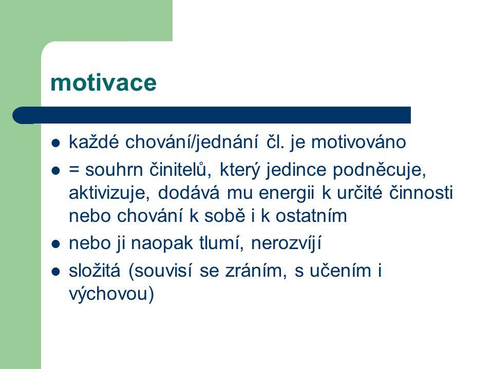 motivace každé chování/jednání čl. je motivováno