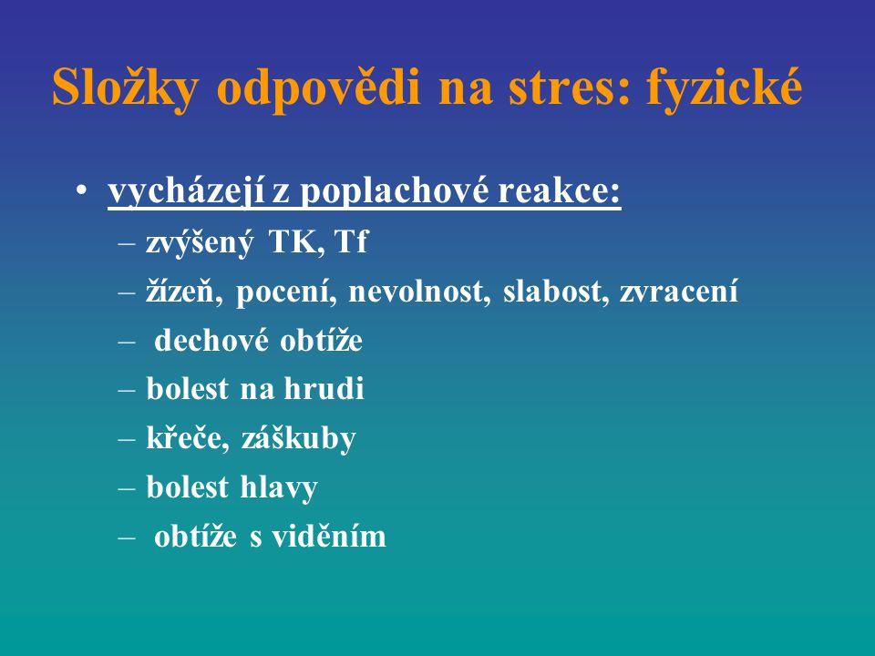 Složky odpovědi na stres: fyzické