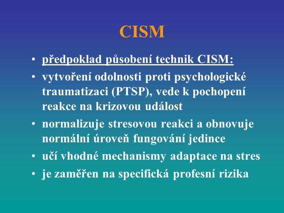 CISM předpoklad působení technik CISM:
