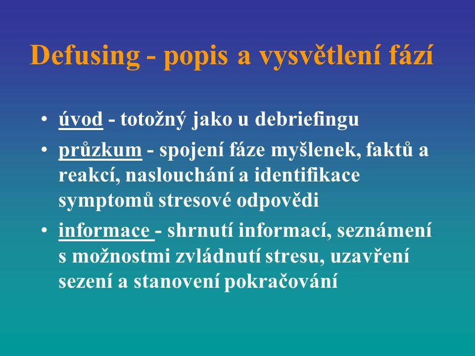 Defusing - popis a vysvětlení fází