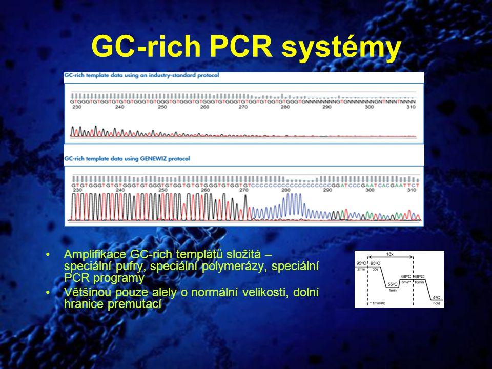 GC-rich PCR systémy Amplifikace GC-rich templátů složitá – speciální pufry, speciální polymerázy, speciální PCR programy.