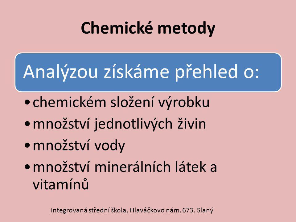 Chemické metody Integrovaná střední škola, Hlaváčkovo nám. 673, Slaný