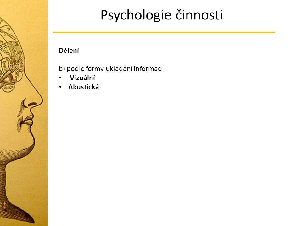 Psychologie činnosti Dělení b) podle formy ukládání informací Vizuální