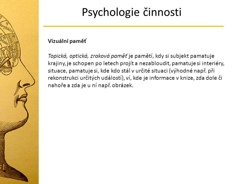 Psychologie činnosti Vizuální paměť