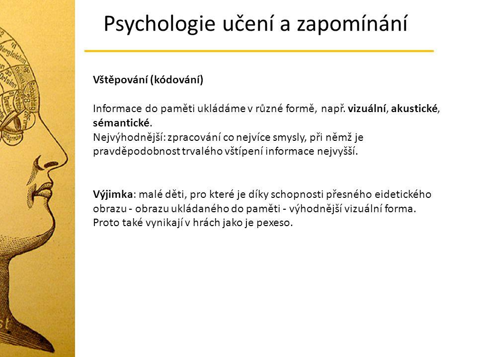 Psychologie učení a zapomínání