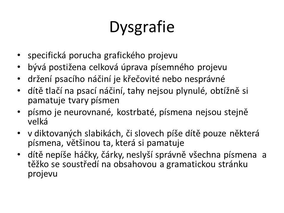 Dysgrafie specifická porucha grafického projevu