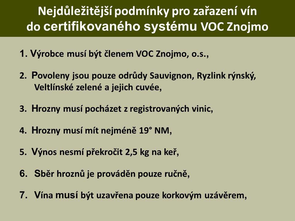 Nejdůležitější podmínky pro zařazení vín do certifikovaného systému VOC Znojmo