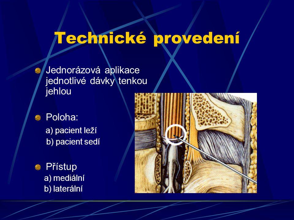 Technické provedení Jednorázová aplikace jednotlivé dávky tenkou jehlou. Poloha: a) pacient leží.