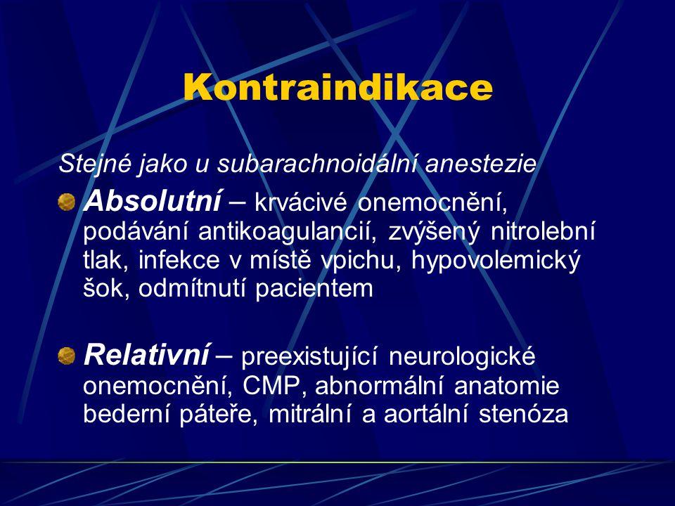 Kontraindikace Stejné jako u subarachnoidální anestezie.