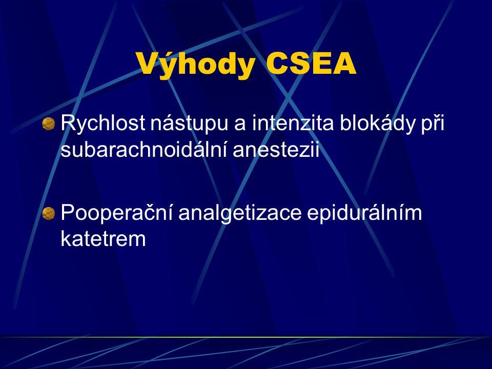 Výhody CSEA Rychlost nástupu a intenzita blokády při subarachnoidální anestezii.