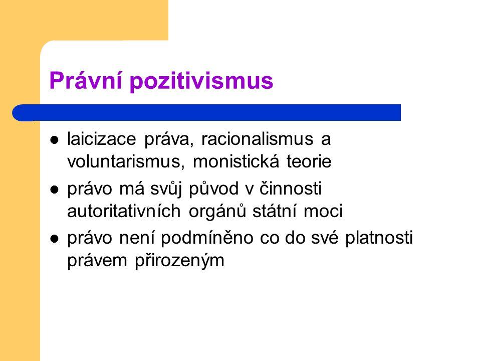 Právní pozitivismus laicizace práva, racionalismus a voluntarismus, monistická teorie.