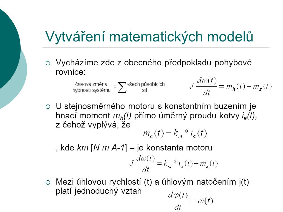Vytváření matematických modelů