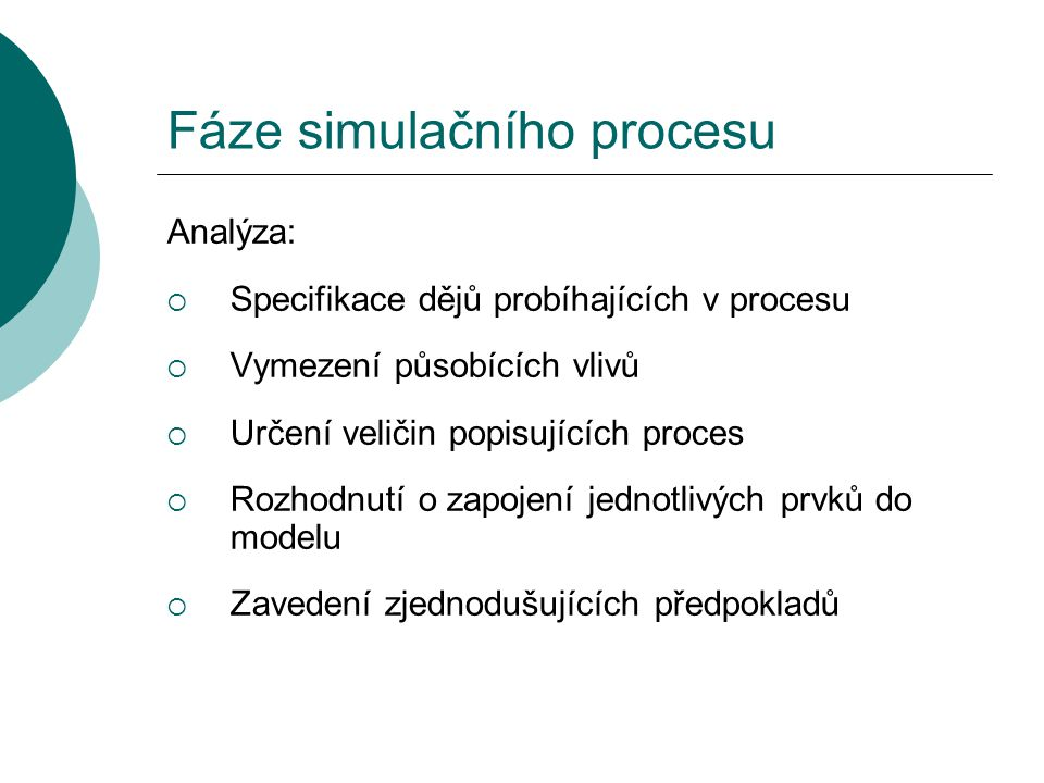 Fáze simulačního procesu