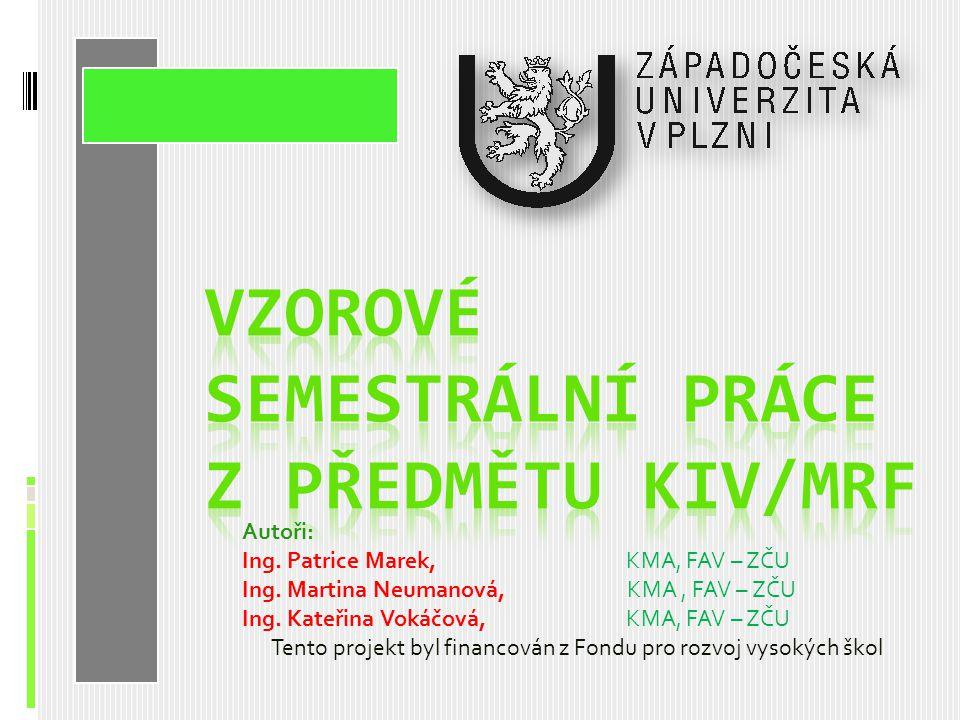 Vzorové semestrální práce z předmětu KIV/MRF