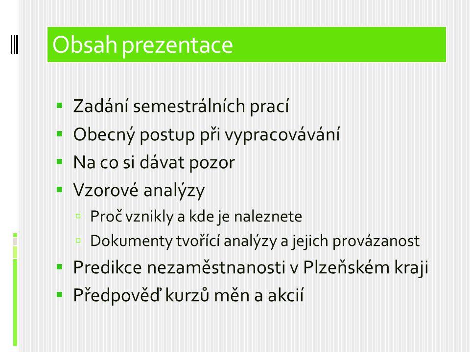 Obsah prezentace Obsah prezentace Zadání semestrálních prací