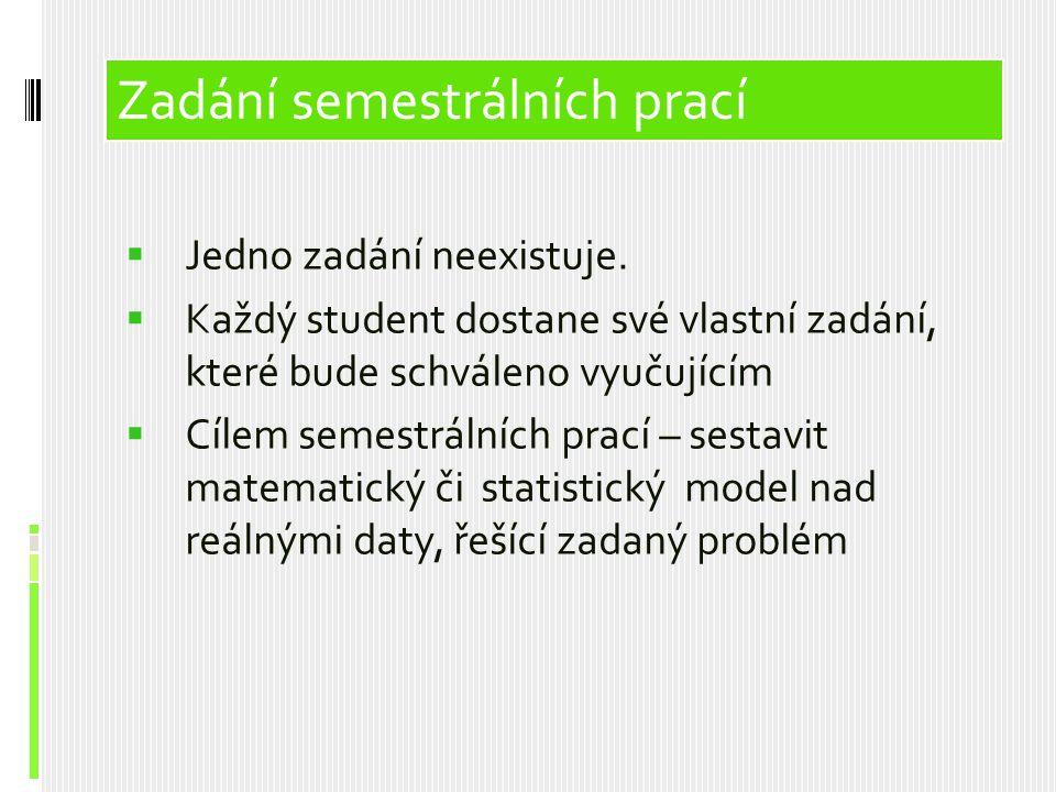 Obsah prezentace Zadání semestrálních prací Jedno zadání neexistuje.