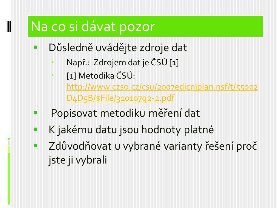 Obsah prezentace Na co si dávat pozor Důsledně uvádějte zdroje dat