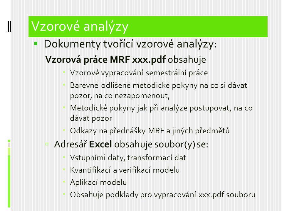 Vzorové analýzy Vzorové analýzy Dokumenty tvořící vzorové analýzy:
