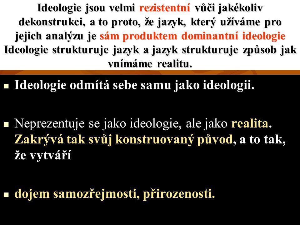 Ideologie odmítá sebe samu jako ideologii.