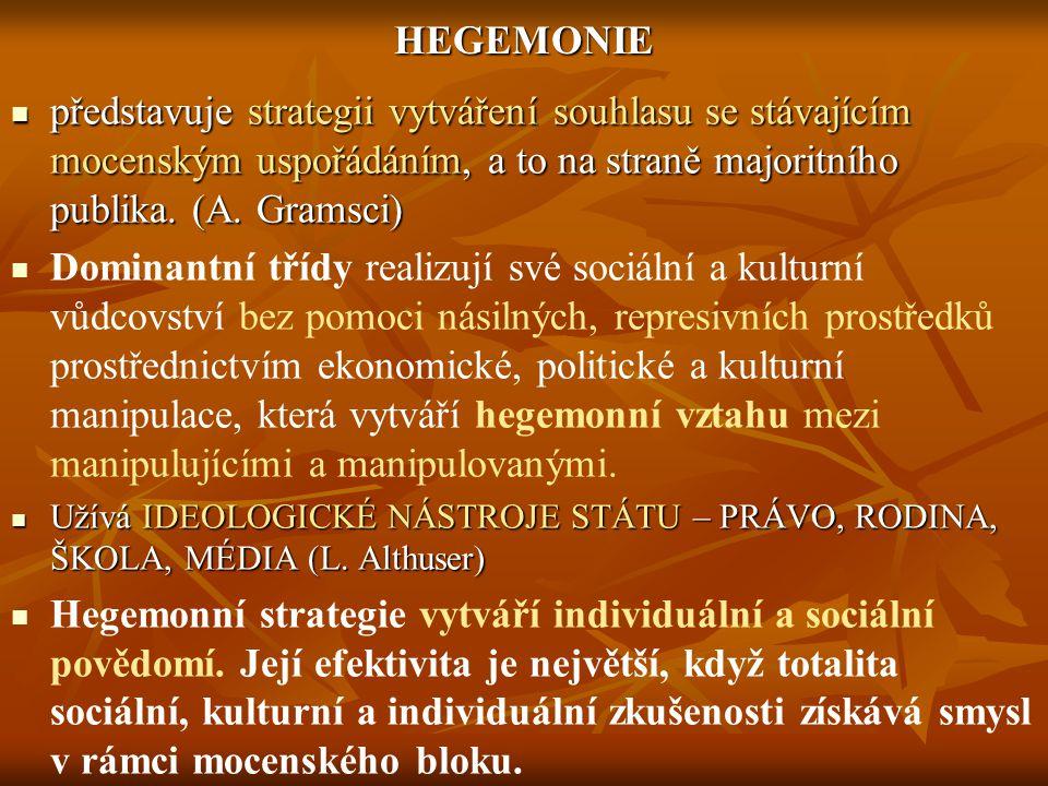 HEGEMONIE představuje strategii vytváření souhlasu se stávajícím mocenským uspořádáním, a to na straně majoritního publika. (A. Gramsci)