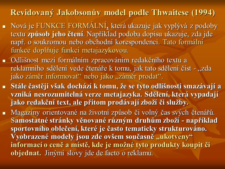 Revidovaný Jakobsonův model podle Thwaitese (1994)